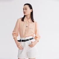 LILY2021夏新款女装设计感立体蝴蝶领定位印花七分袖泡泡袖衬衫901