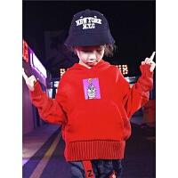 男童卫衣秋冬装儿童连帽红色中大童潮款洋气