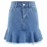 大码半身裙200斤夏装2018chic牛仔短裙高腰包臀裙子 浅蓝色