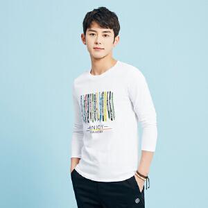 美特斯邦威长袖T恤男春秋装文具趣味印花纯棉圆领时尚打底衫