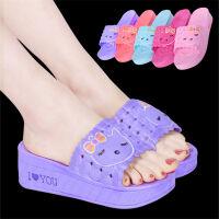夏季女士可爱松糕厚底防滑高跟居家女士凉拖鞋情侣居家拖鞋加厚