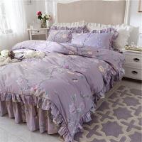 四件套床上用品带花边床裙款全棉纯棉紫色荷叶边被套秋季田园风格