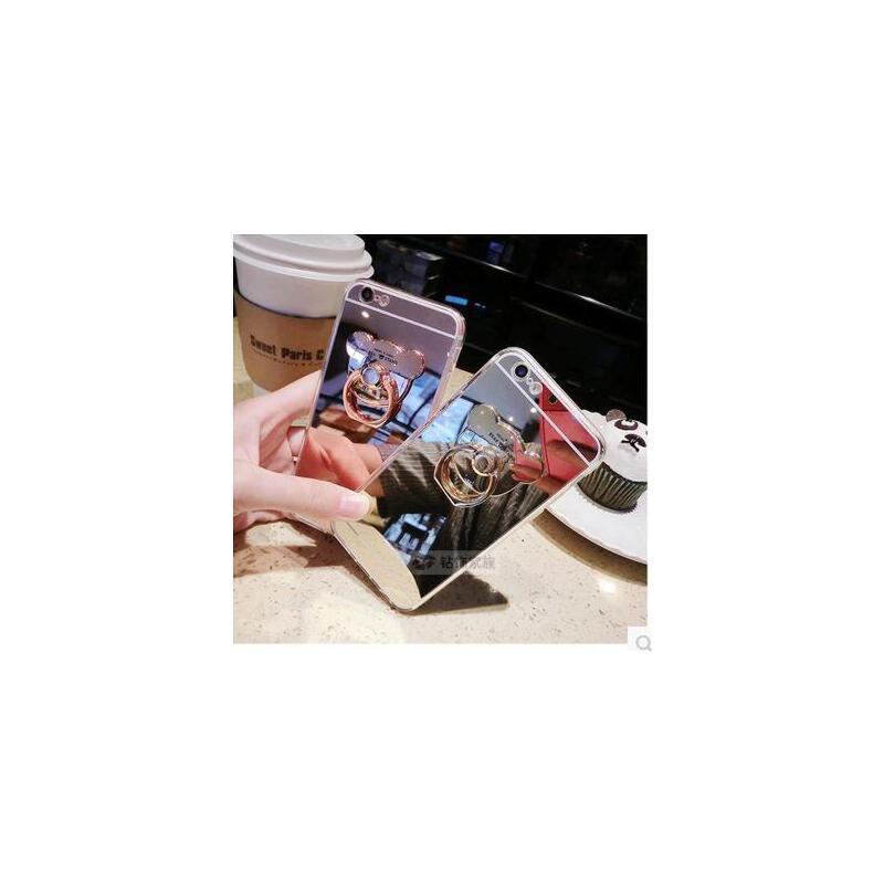 【支持礼品卡】镜面小熊iphone6s手机壳支架手环苹果6Splus软胶套指环壳se/5s壳 正品行货