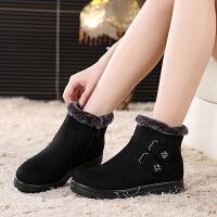 冬季老北京布鞋女棉鞋中老年妈妈平底短靴雪地靴加绒加厚保暖防滑