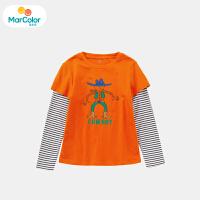 【119元4件】马卡乐童装22春新款男宝宝上衣假两件设计男童长袖T恤