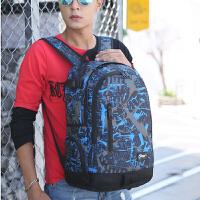 新款男韩潮帆布书包中学生女休闲双肩背包电脑包大容量防水旅行包 迷彩蓝色 1085