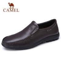 camel 骆驼男鞋2018新品软面轻弹套脚商务休闲皮鞋细摔牛皮男鞋