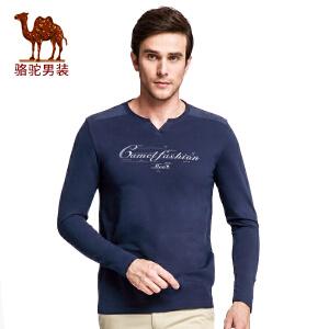 骆驼男装 新品时尚男士V领印花长袖T恤衫青年修身t恤男