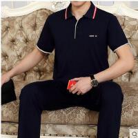 长裤运动服男薄棉透气中年运动装夏天男士运动套装半袖男套装大码 可礼品卡支付