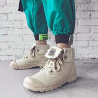 男士高帮帆布工装短靴男士英伦马丁靴中帮复古冬季运动大头靴子潮休闲鞋