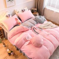 网红款床上四件套全棉纯棉风床单兔子被套可爱少女公主风床裙 冬季宝宝绒-粉灰 小了白了兔