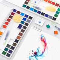 马利固体水彩颜料套装36色初学者绘画24色学生透明盒装手绘设计