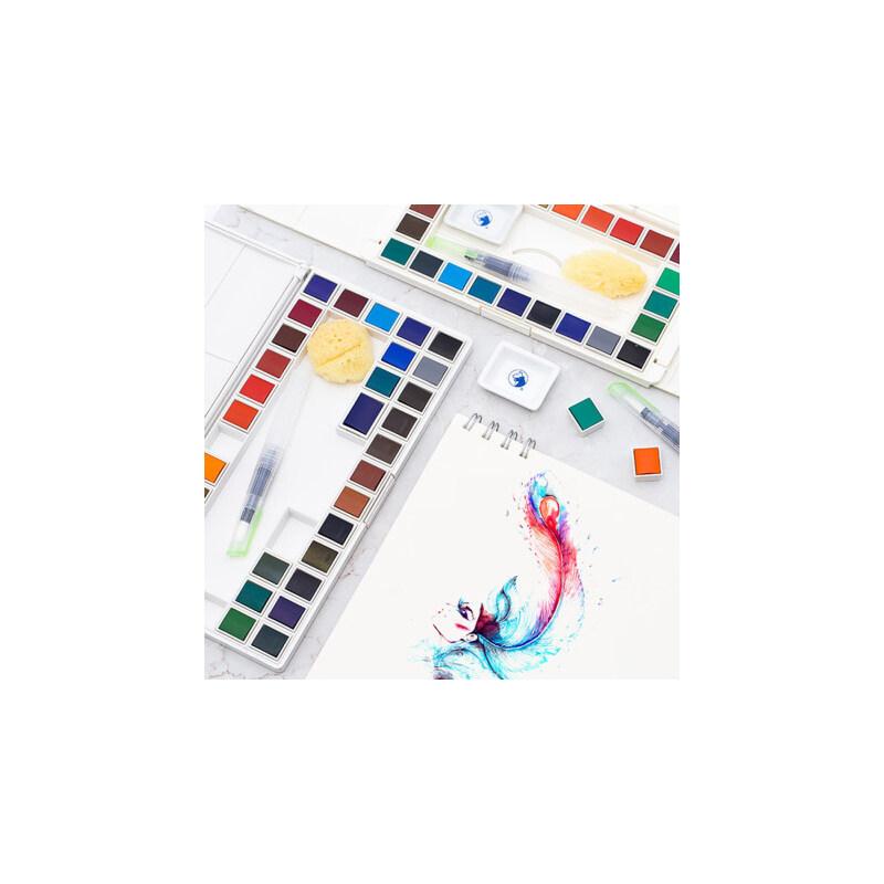 马利固体水彩颜料套装36色初学者绘画24色学生透明盒装手绘设计 颜色正 色彩细腻 小巧便携 送自来水笔