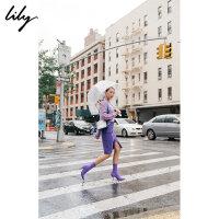 【不打烊价:209.7元】 Lily春秋新款紫罗兰开叉口袋中长半身裙