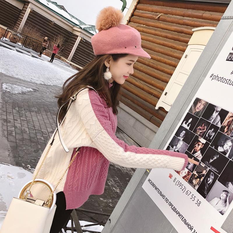 谜秀加厚毛衣女2017秋冬装新款韩版宽松ulzzang针织打底衫半高领