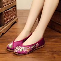 老北京新娘鞋绣花婚鞋红色秀禾鞋子筋底中式平底跟布鞋女 紫红色 B002