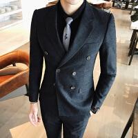 秋冬装男士潮流条纹商务正装休闲西服套装韩版修身双排扣三件套