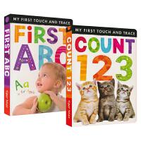 My First Touch & Trace 幼儿套感知触摸启蒙书2册 互动英语翻翻书 学ABC和123 儿童英文原版