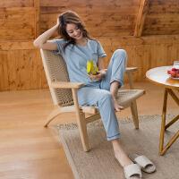 情侣睡衣夏短袖长裤韩版夏天睡衣男女可爱薄款家居服套装 灰蓝 Y533女