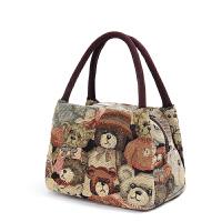 手提包女款手拎包女士小布包女包手提包帆布包迷你小熊包包手拿大容量饭盒袋便当包
