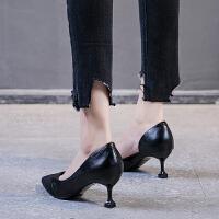 �瓤崭吒�鞋女�跟�\口尖�^�涡�女2019春季新款性感�W��跟鞋百搭夏季百搭鞋