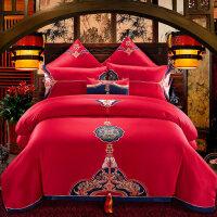 婚庆四件套大红色结婚床上用品纯棉全棉婚房1.8m床单被套中式刺绣