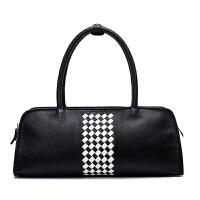 女包新款包包女波士顿包女士手提包韩版时尚百搭斜挎包枕头包 黑色