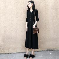 秋装女2018新款韩版V领修身气质长裙chic长袖针织秋冬打底连衣裙 黑色 S