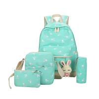 女士双肩背包 帆布双肩包女韩版校园初中学生书包小清新兔子印花小学生旅游背包