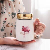 汉馨堂 陶瓷杯 创意简约陶瓷杯镜面盖卡通办公马克杯