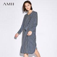 Amii[极简主义]2017秋装新款大码休闲V领条纹领带连衣裙11744936