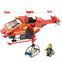 小鲁班 拼插积木 急速火警系列 消防直升机 模型玩具