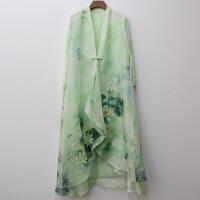 魅儿春夏新款原创女装外披雪纺印花复古改良风衣禅意茶人服风衣W7122GH123 绿色
