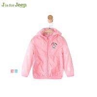 【3件4折到手价103.6】Jeep童装 女小童休闲梭织外套幼儿童立领开衫外出服春秋新款