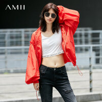 Amii[极简主义]宽松棒球服女秋装2017新款木耳边抽绳立领长袖外套
