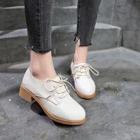 小皮鞋女英伦风女鞋百搭春秋季舒适女鞋新款韩版学生中跟粗跟单鞋