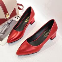 黑色高跟鞋女职业中跟面试工作鞋尖头粗跟软面礼仪正装浅口上班鞋