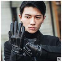 时尚手套分指皮手套男防风寒骑车手套加厚保暖触摸屏手套女士韩版潮