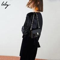 Lily春新款女装商务通勤漆皮简约链条斜跨单肩包119100BZ447