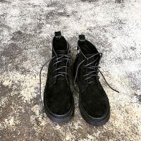 韩版原宿马丁靴女冬系带短靴英伦复古侧拉链马丁靴平底高帮学生鞋 黑色(单)
