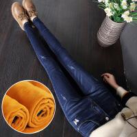 高腰牛仔裤女小脚铅笔春秋季加绒2018新款韩版刺绣弹力显瘦长裤子