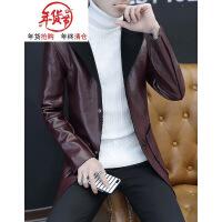 男士连帽加绒加厚皮风衣秋冬季韩版中长款个性保暖外套青年皮衣男