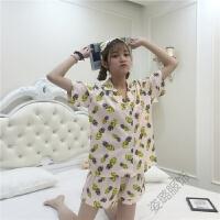 睡衣套装女夏季冰丝宽松韩版星星菠萝短袖短裤家居服三件套学生天