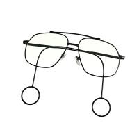 刘昊然同款网红平光眼镜男女原宿大框个性耳环装饰时尚眼镜