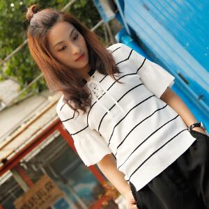 灏领衣尚2017夏季新款短袖前置系带荷叶袖百搭显瘦小清新T恤上衣