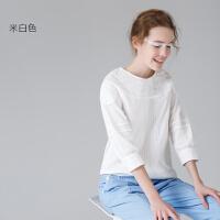 初语2017夏装新款白衬衫女宽松七分袖纯棉圆领衬衣纯色上衣女装潮