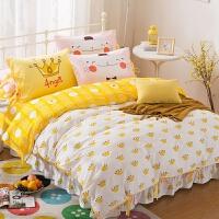 御目 儿童四件套 纯棉小清新四件套床上可爱卡通全棉床单床裙式公主风韩式床上用品