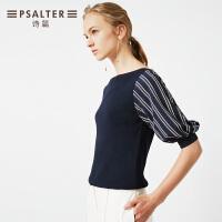 诗篇2018夏季新款OL假两件套拼接条纹灯笼袖针织衫
