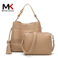 莫尔克(MERKEL)新款镂空女士流苏子母包时尚百搭手提单肩包女斜跨两件套包