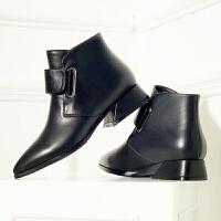 纯手工定做 粗跟短靴欧美尖头软面皮女鞋秋冬单靴复古马丁靴